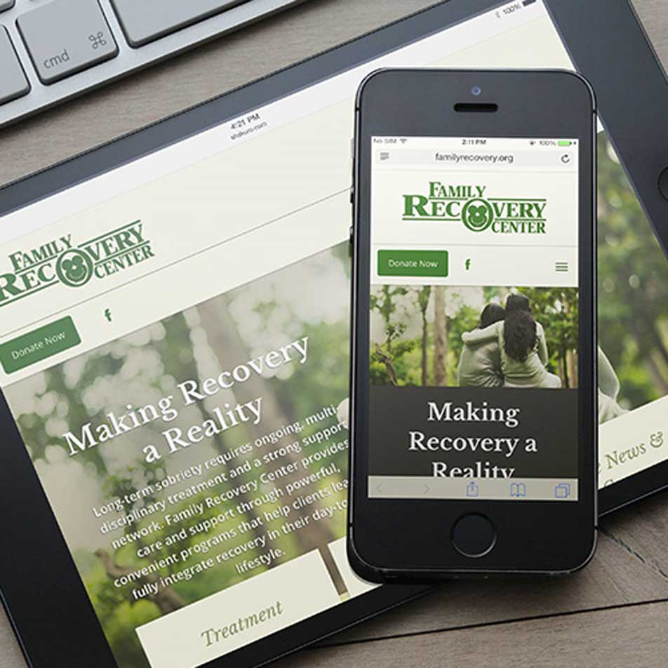 Family Recovery Center website on a tablet and phone